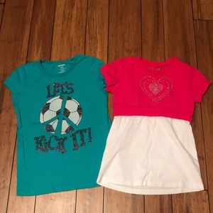 Two short sleeved girls shirts
